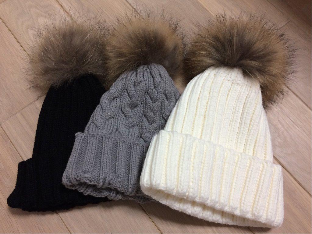 шапки с натуральным помпоном