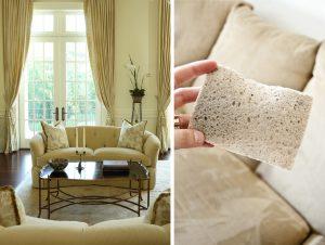 Меламиновая губка для чистки светлого дивана