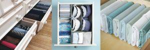 Вертикальное хранение вещей в шкафу — метод Конмари