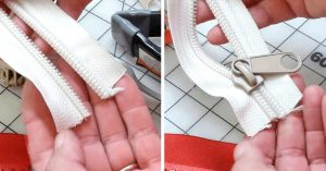 Как с помощью вилки вставить бегунок молнии